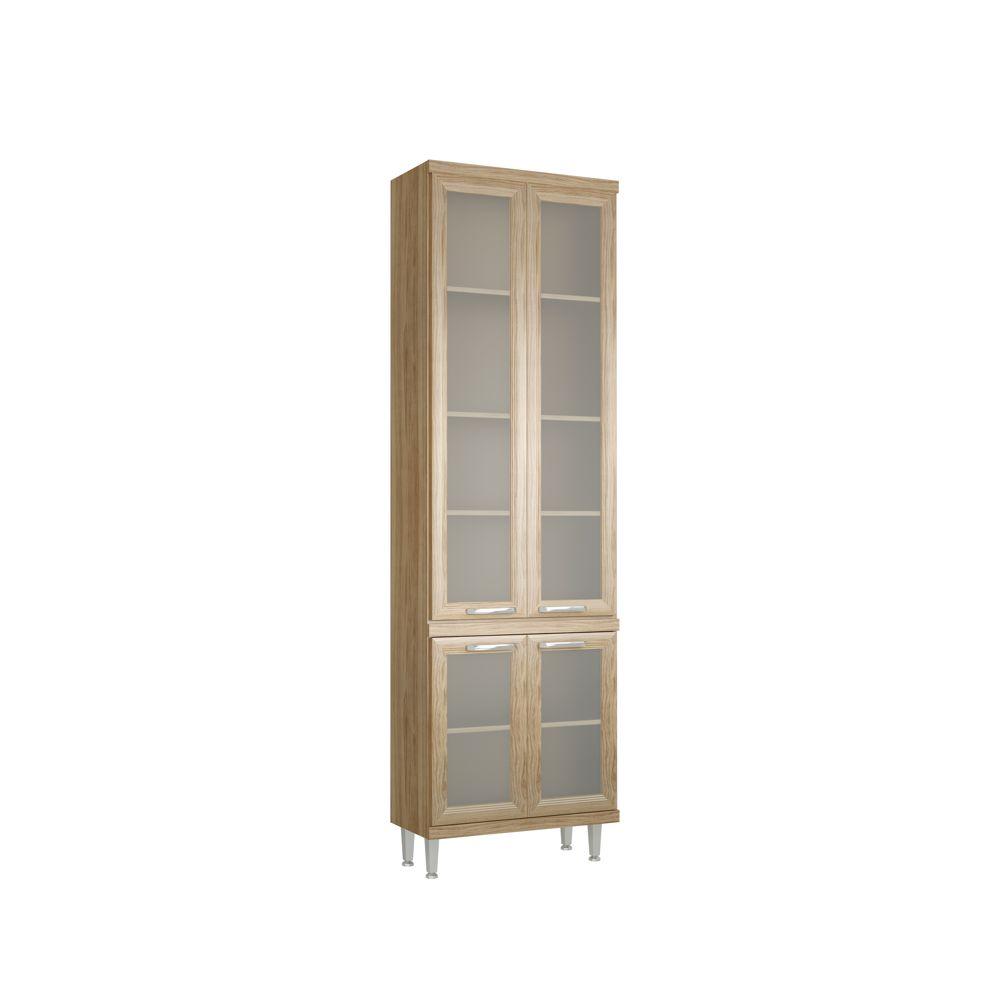 Armário de Cozinha Paneleiro 4 Portas de vidro 70cm 5121-4VD Sicília Multimóveis