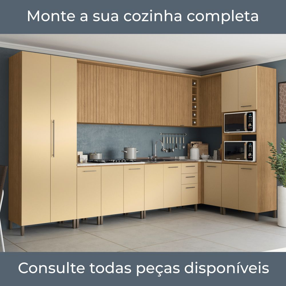 Armário de Cozinha Paneleiro 80cm com Porta Temperos H730 Áurea Kappesberg