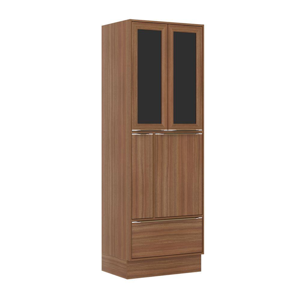 Armário de Cozinha Paneleiro Duplo 70cm Calábria 4 portas 2 de vidro com Rodapé e Porta Temperos 5406R Multimóveis