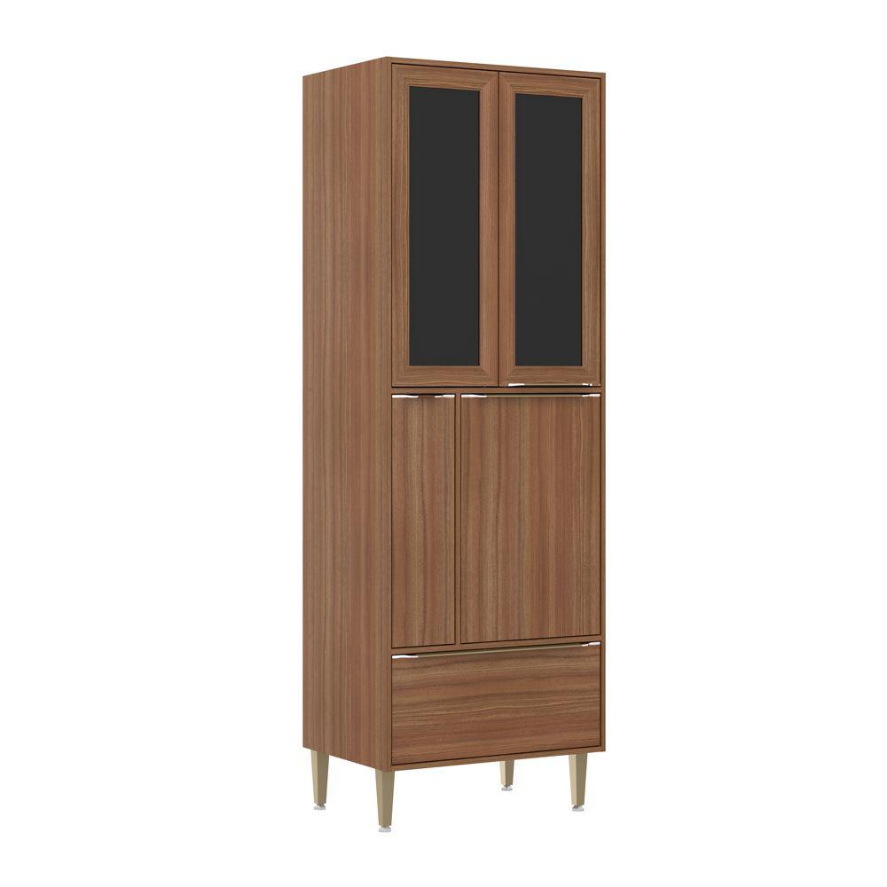 Armário de Cozinha Paneleiro Duplo 70cm Calábria com Porta Temperos 4 portas 2  com Vidro Preto 5406 Multimóveis