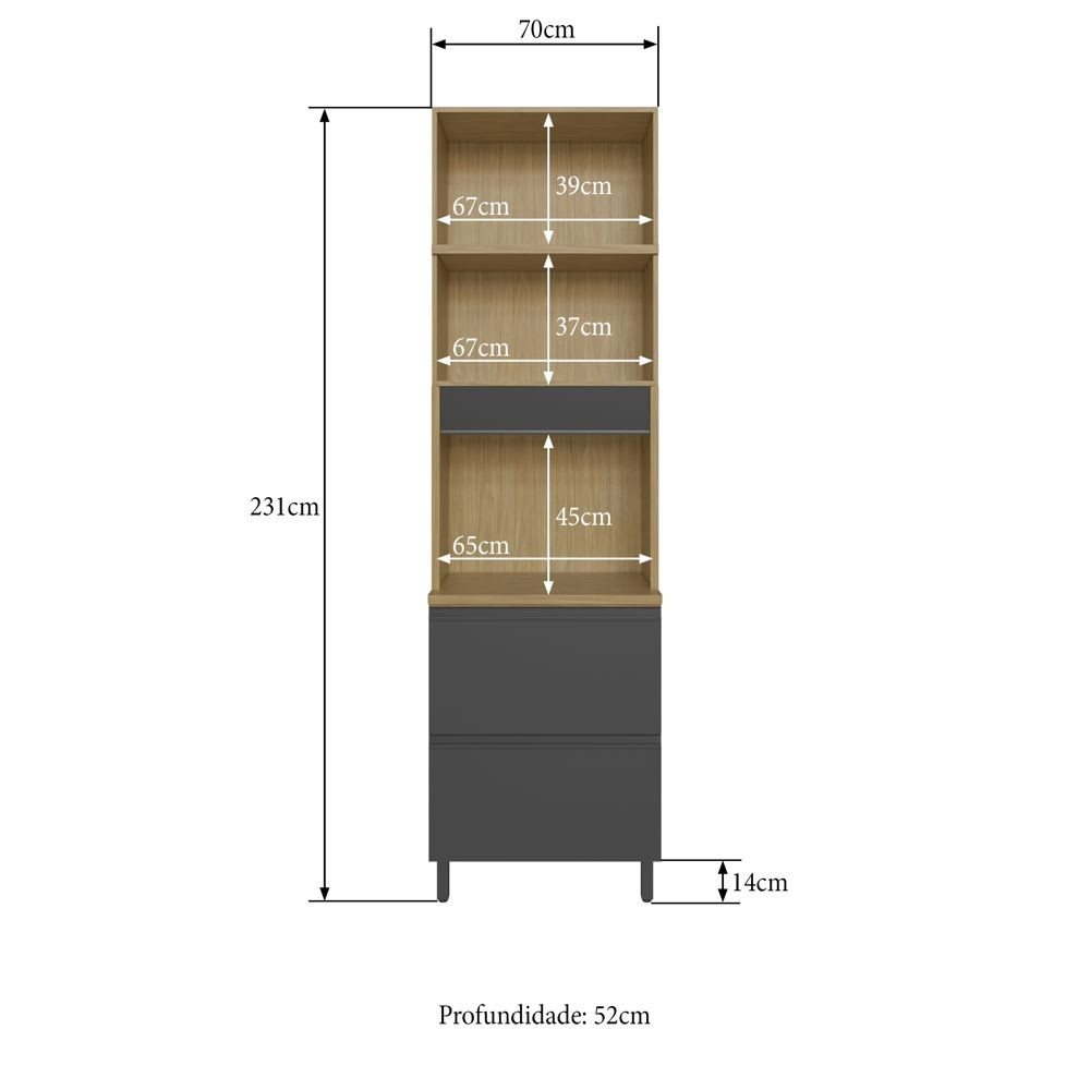 Armário de Cozinha Torre para Forno 70cm 2 portas 2 gavetas Cairo 3214 Casamia