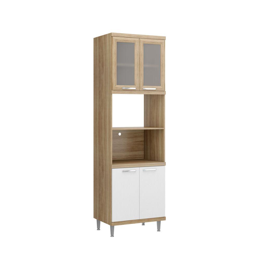 Armário de Cozinha Torre Quente com vidro para Forno e Microondas 4 Portas 2 Nichos 5120-2VD Sicília Multimóveis