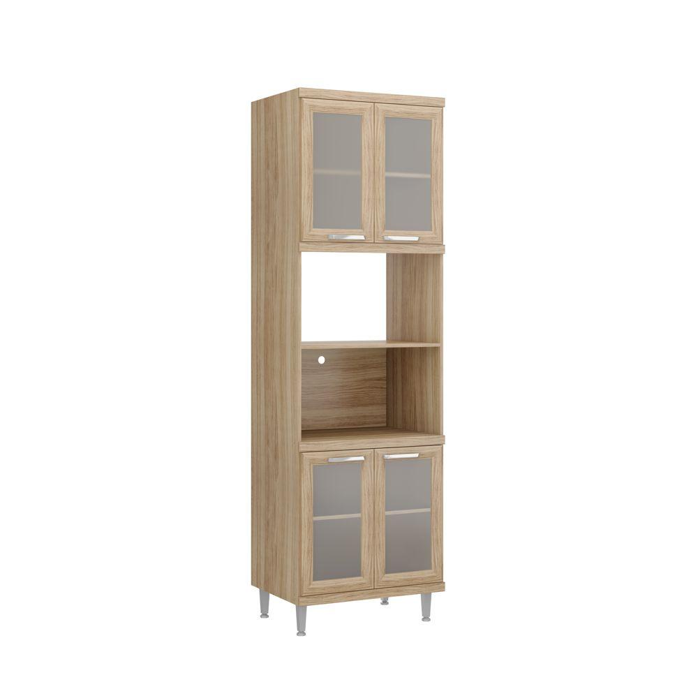 Armário de Cozinha Torre Quente para Forno e Microondas 4 Portas de vidro 2 Nichos 5120-4VD Sicília Multimóveis