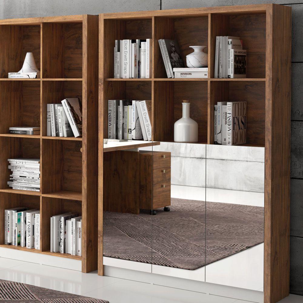 Armário para Escritório 1,20m 3 Portas de Espelho MDF TC611E Dalla Costa