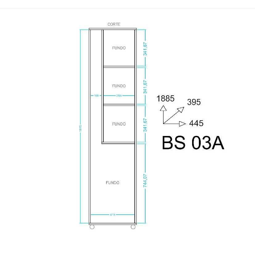 Armário para Lavanderia 1 Porta BS 03 BRV Móveis
