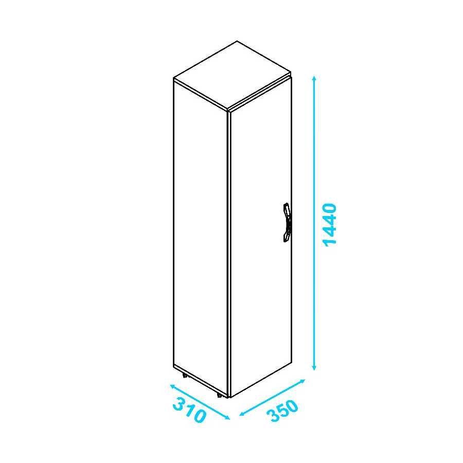 Armário para Lavanderia 1 Porta com Rodas BS 06 BRV Móveis