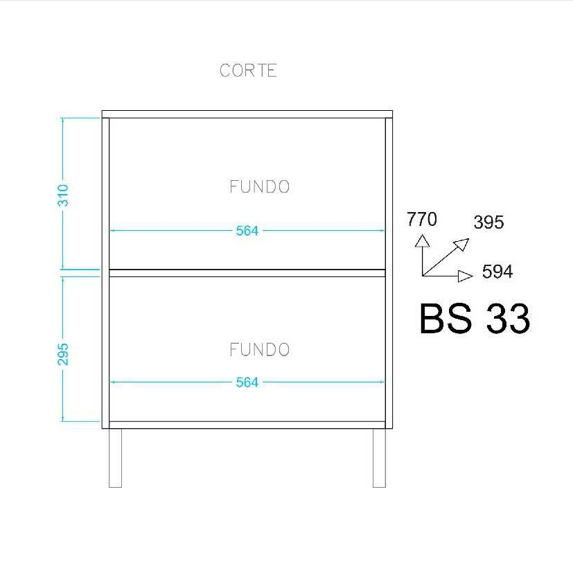 Balcão 2 Portas 60cm Área de Serviço BS 33 BRV Móveis