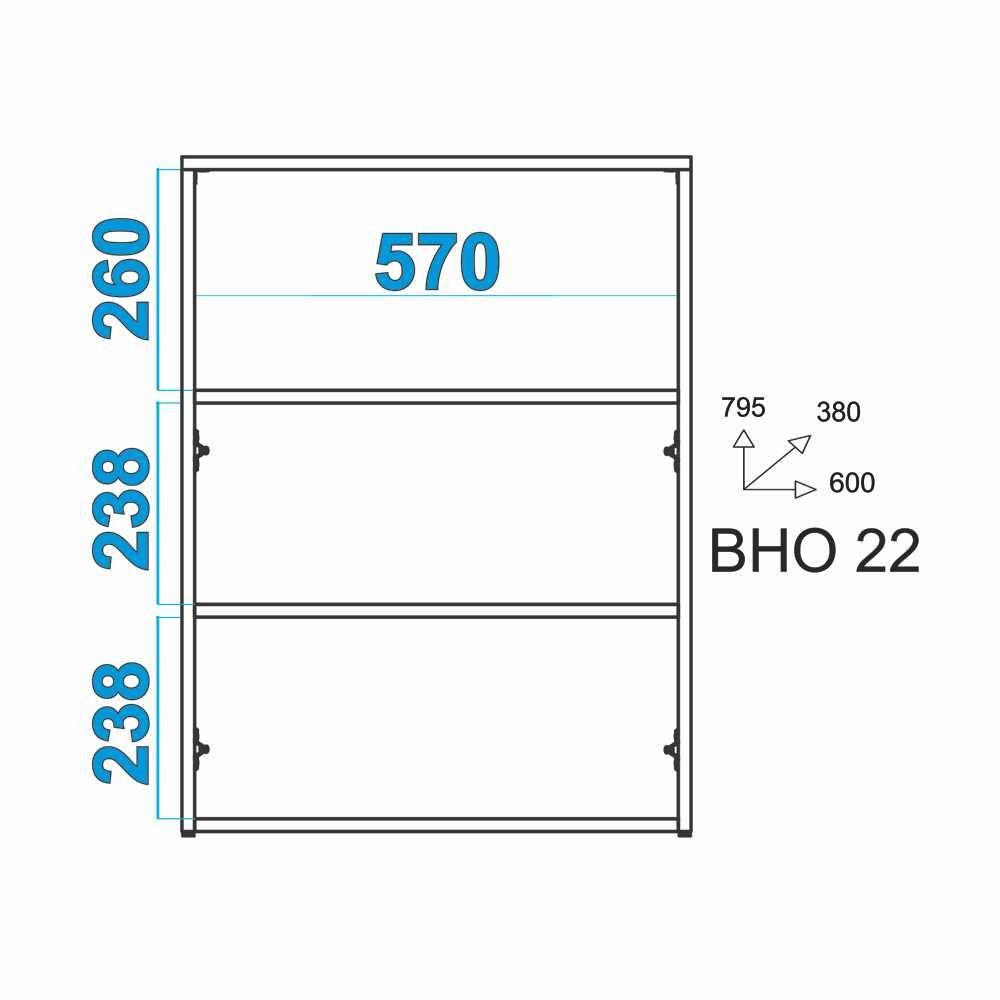 Balcão Baixo 2 Portas 60cm BHO 22 BRV Móveis