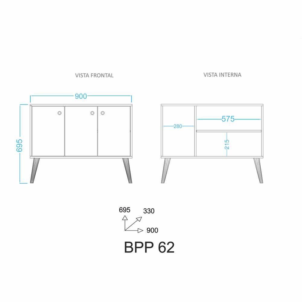 Balcão Buffet Retrô Pés Palito 90cm 3 Portas BPP 62 BRV Móveis