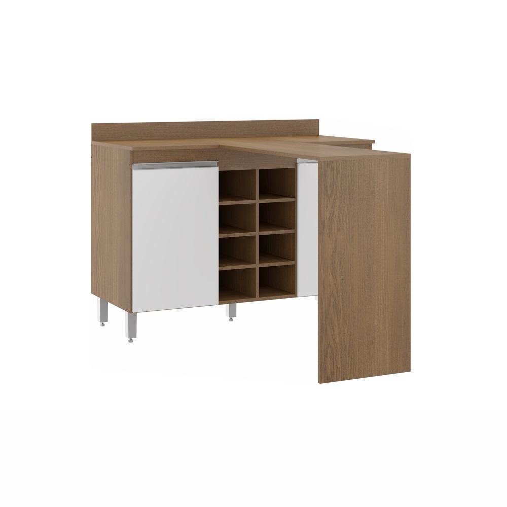 Balcão com Bancada e Adega Cozinha Sabrina 2 Portas 1,20m 0465 Soluzione Móveis