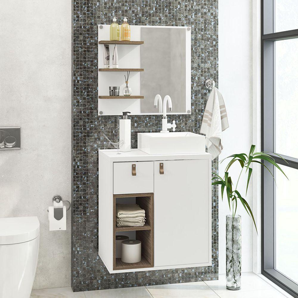 Balcão com Espelho para banheiro Macaé 2 nichos, 1 gaveta 4 prateleiras com cuba, kit hidráulico, torneira 190595 Politorno