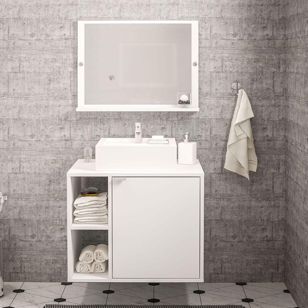 Balcão com Espelho para banheiro Suzano 1 porta e 2 nichos 190570 Politorno