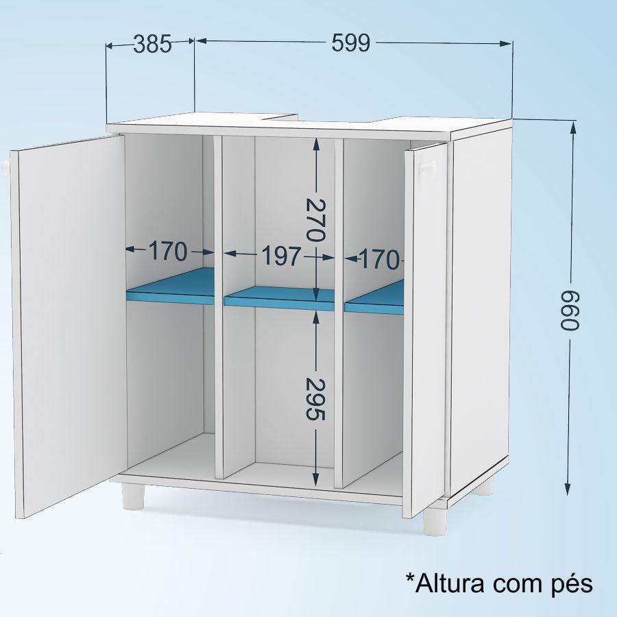 Balcão de Banheiro para Encaixe na Pia 2 Portas Politorno