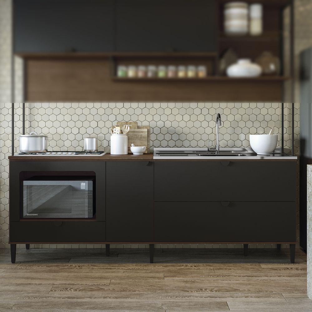 Balcao de Cozinha 2,40m Pia, Cooktop e Forno POP PO022 Kappesberg