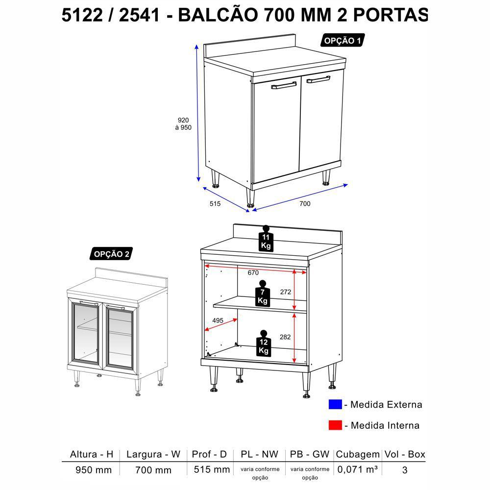 Balcão Multiuso com Tampo Sicília 70cm 2 portas 2541 Multimóveis