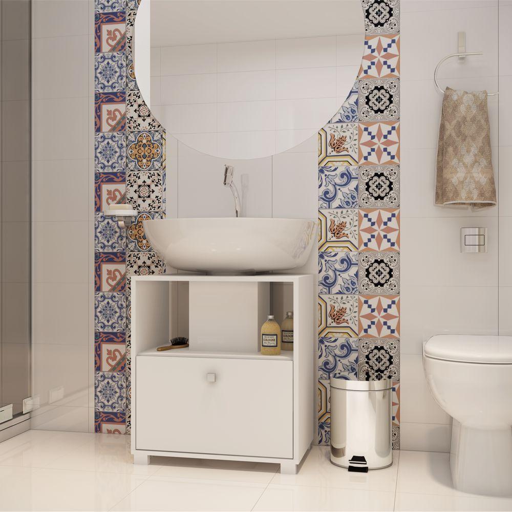 Balcão para Banheiro 53,5cm Encaixe Pia Basculante BBN 02 BRV Móveis