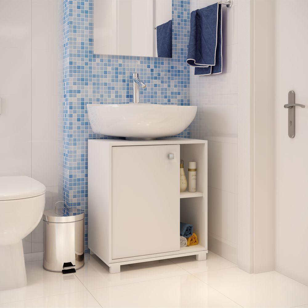 Balcão para Banheiro 53,5cm Encaixe Pia BBN 01 BRV Móveis