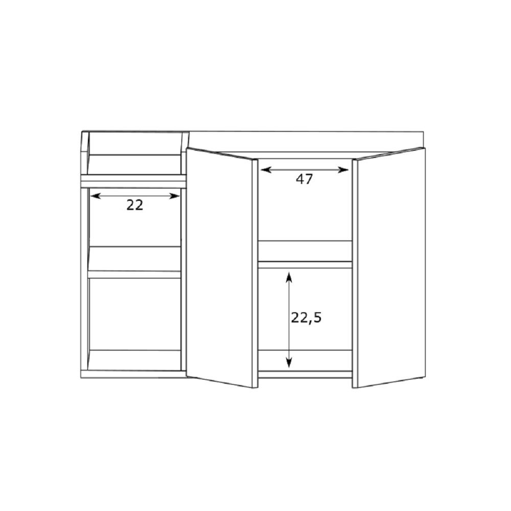Balcão para Banheiro Bart 75x50cm 2 portas 2 nichos 10200350 Estilare