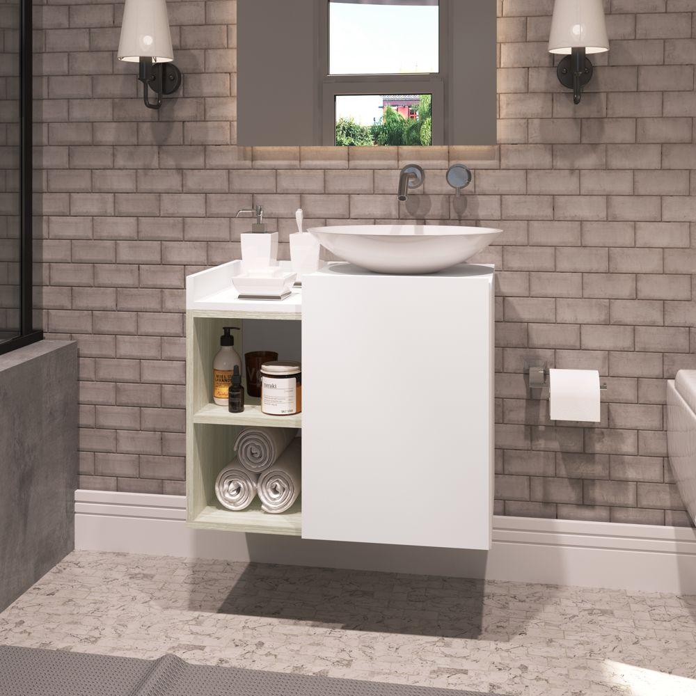 Balcão para Banheiro Benoni 60x50cm 1 porta 2 nichos 10200330 Estilare