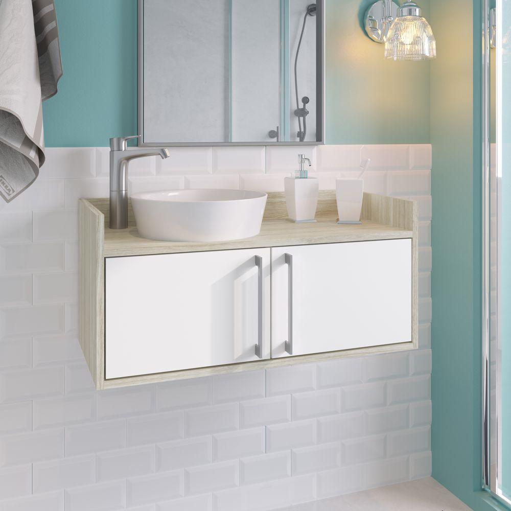 Balcão para Banheiro Bonifácio 75x35cm 2 portas 10200260 Estilare