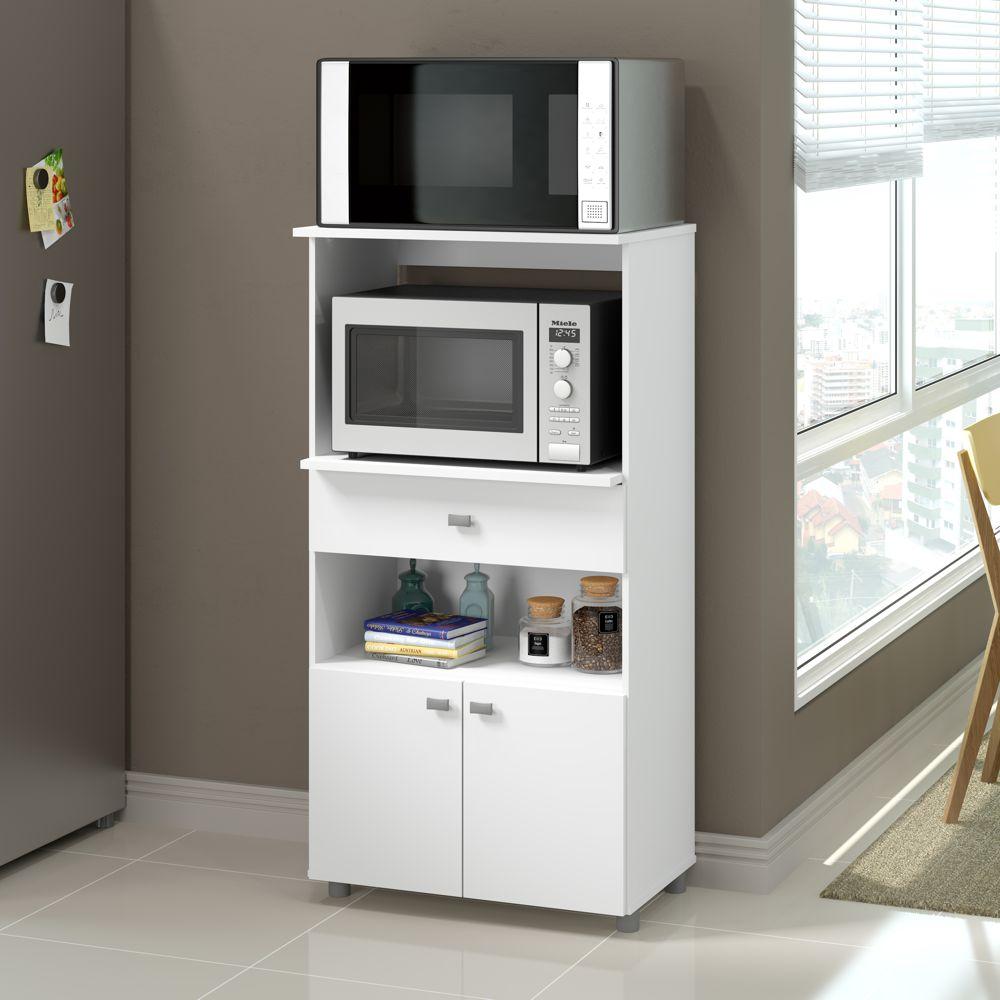 Armário de Cozinha Multiuso para forno/microondas 2 portas 2 nichos 1 gaveta 62 cm 4060G Multimóveis