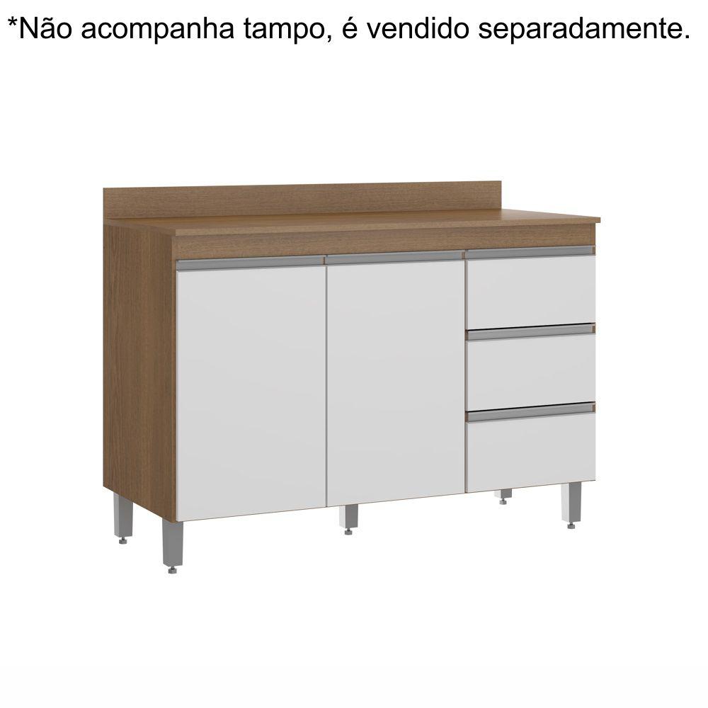Balcão para Pia de Cozinha Sabrina 2 Portas 3 Gavetas 1,20m sem tampo 0449 Soluzione Móveis