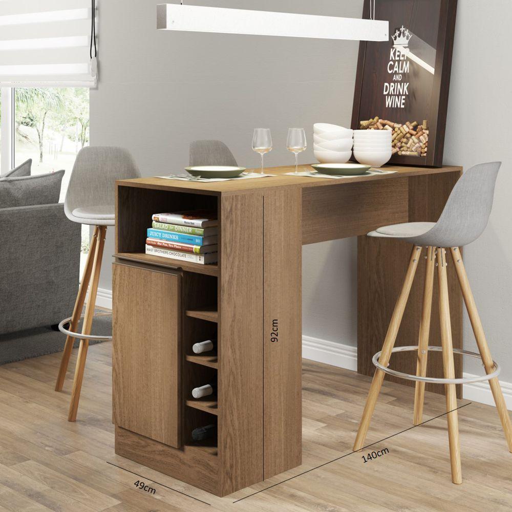 Bancada de Cozinha Multiuso com Garrafeiro 1 Porta 1 Nicho Aberto 0535 Soluzione Móveis