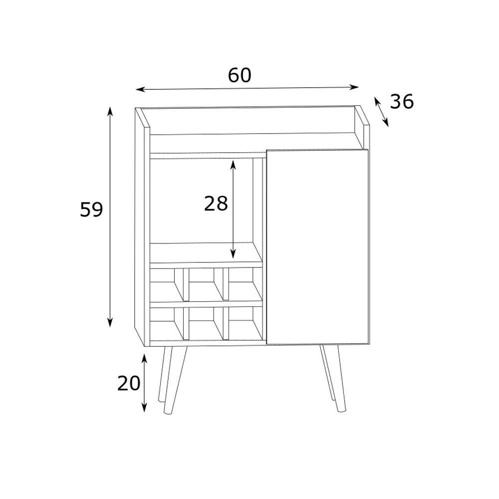 Bar com adega e pé palito Calubi 60x79cm EST-Z007 Estilare