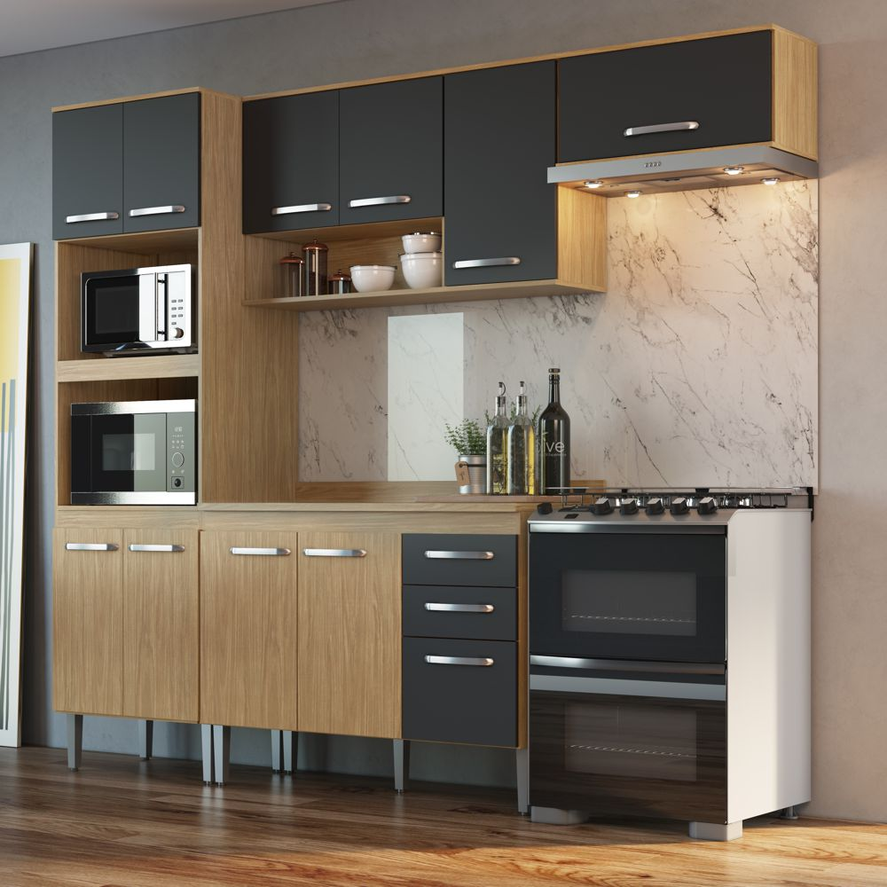 Armário de Cozinha completo 5pc 2,55m Bélgica A3095 Casamia