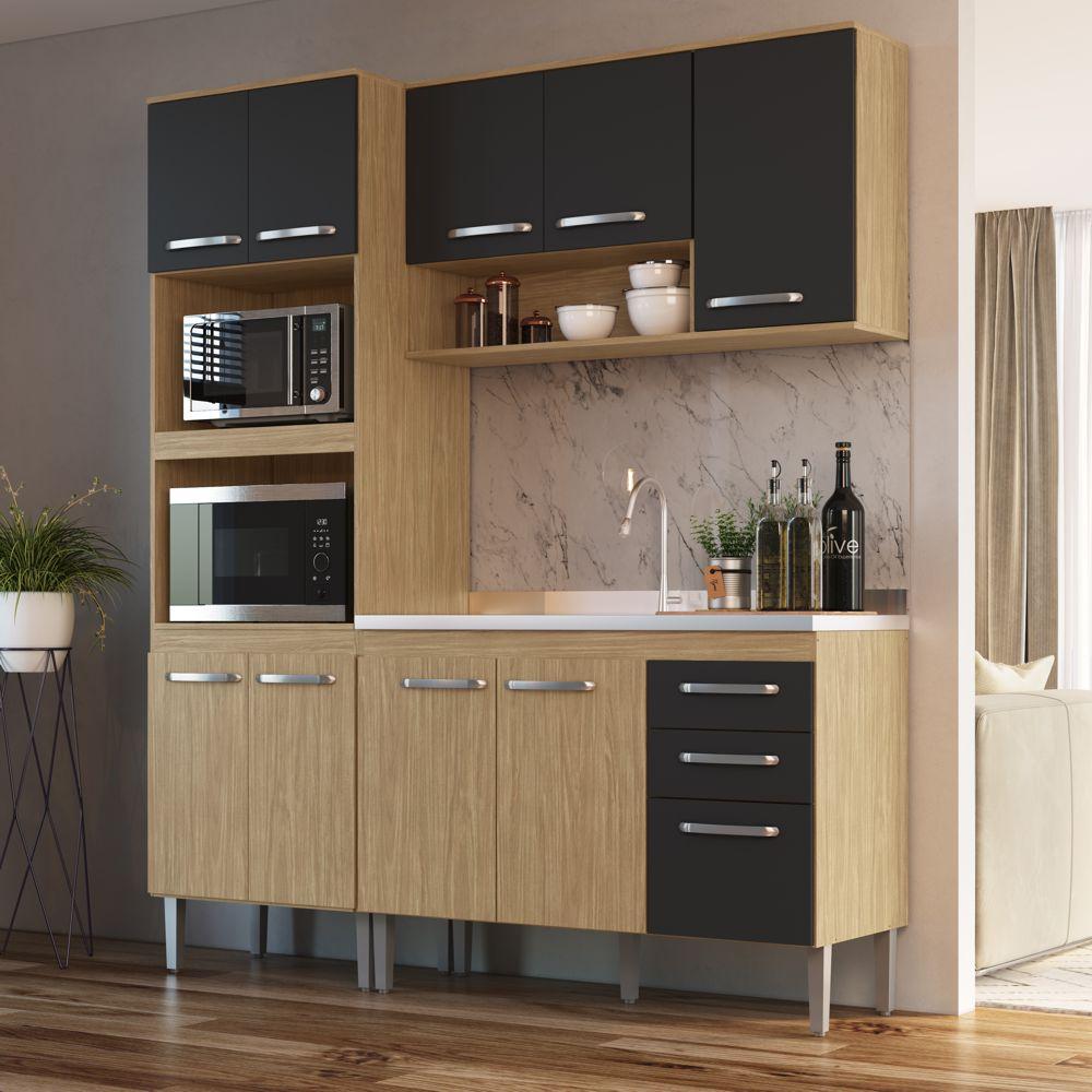 Armário de Cozinha completo 3pc 1,85m Bélgica A3097 Casamia