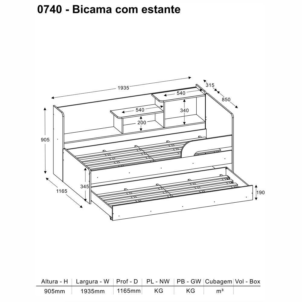 Bicama com Cantos Arredondados e Prateleira Lateral 0740 Multimóveis