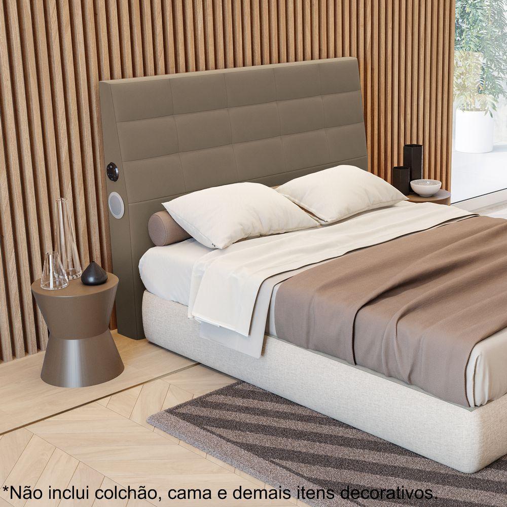 Cabeceira Cama Box Casal com Sistema de som Alto-Falantes Bluetooh CAB007 Kappesberg