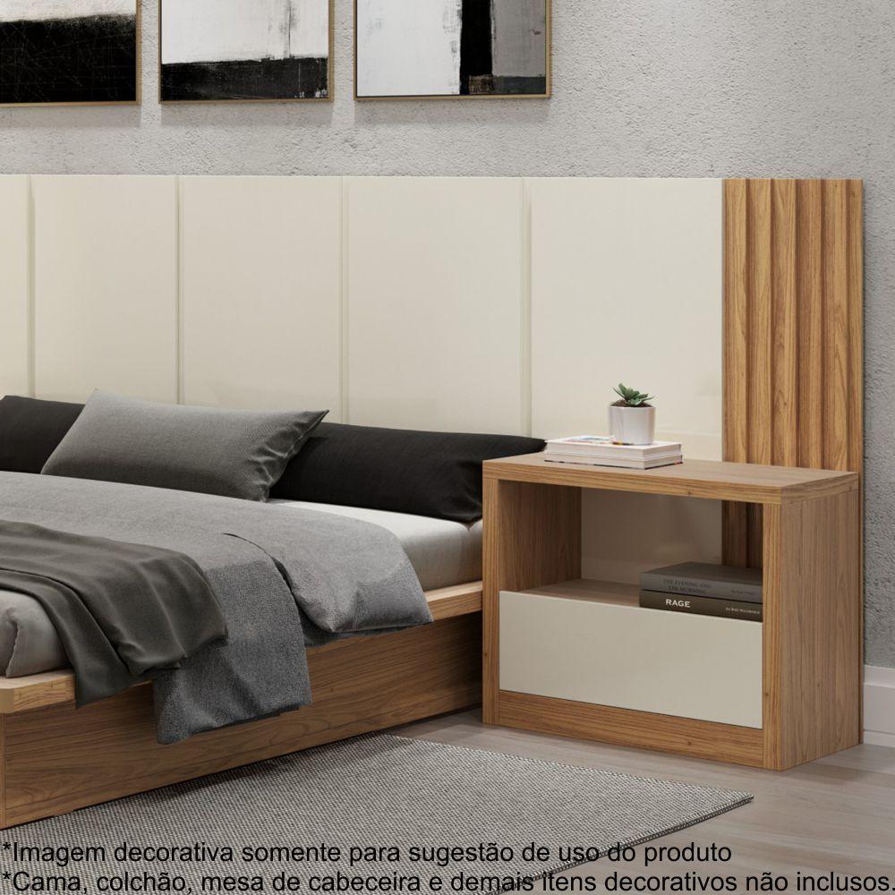 Cabeceira Decorativa Casal com detalhes ripados 100% MDF 3,00m TW185 Dalla Costa