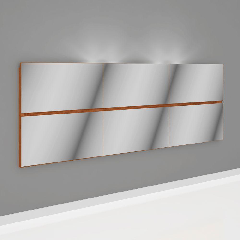 Cabeceira Painel com Espelhos Luzes LED 1,80x0,60m W361L Dalla Costa