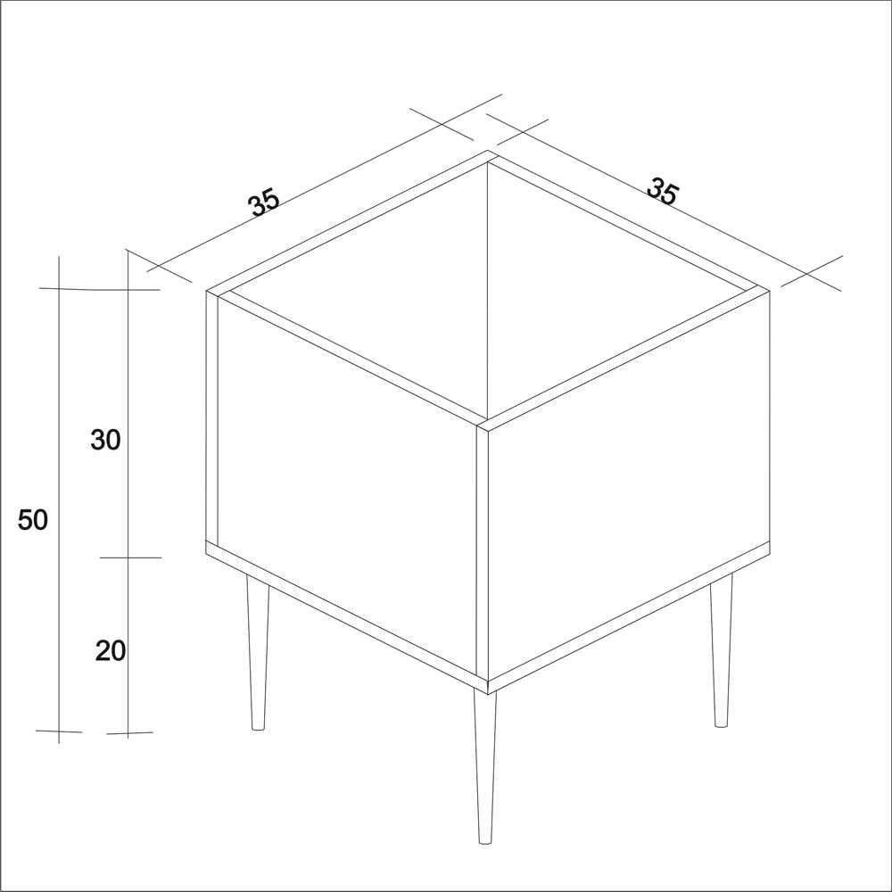 Cachepot Box Retrô 35x35cm Pés Palito CB Estilare