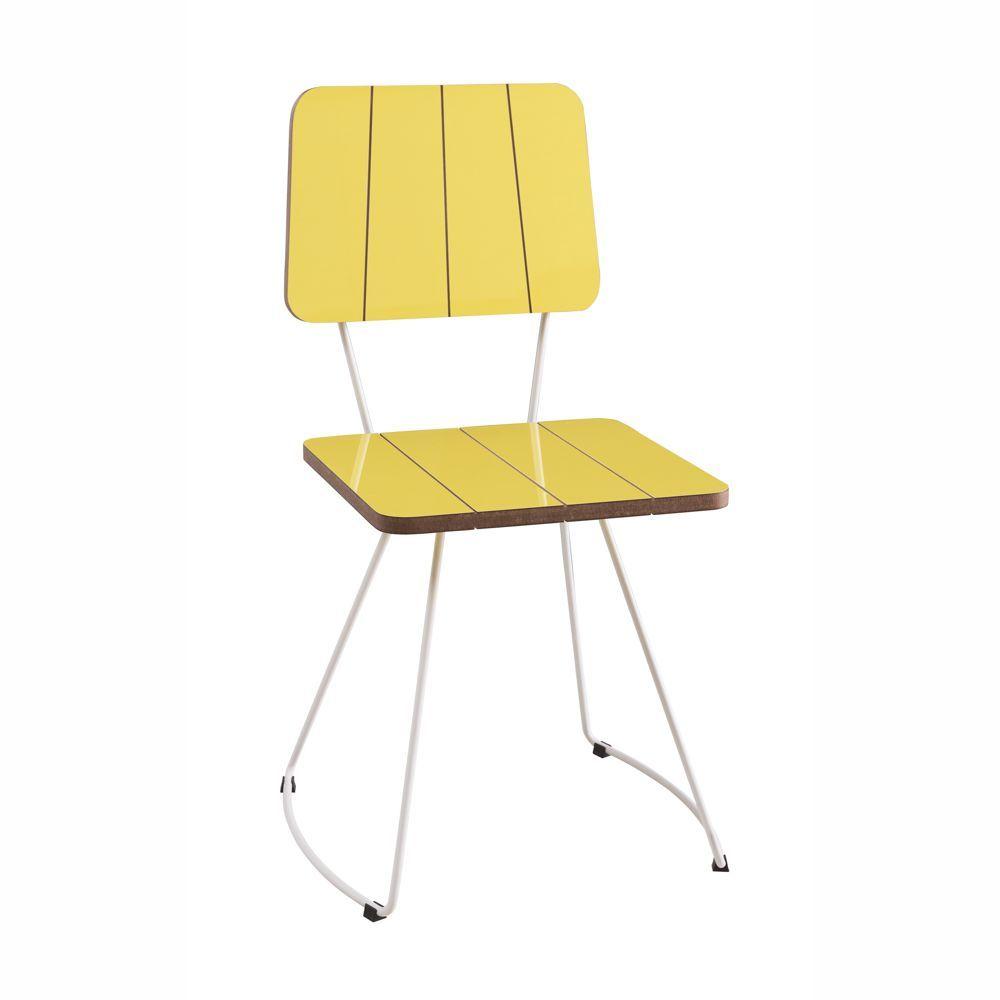 Cadeira Costela MDF Colorido com Base em Aço Diversas Cores F49 DAF
