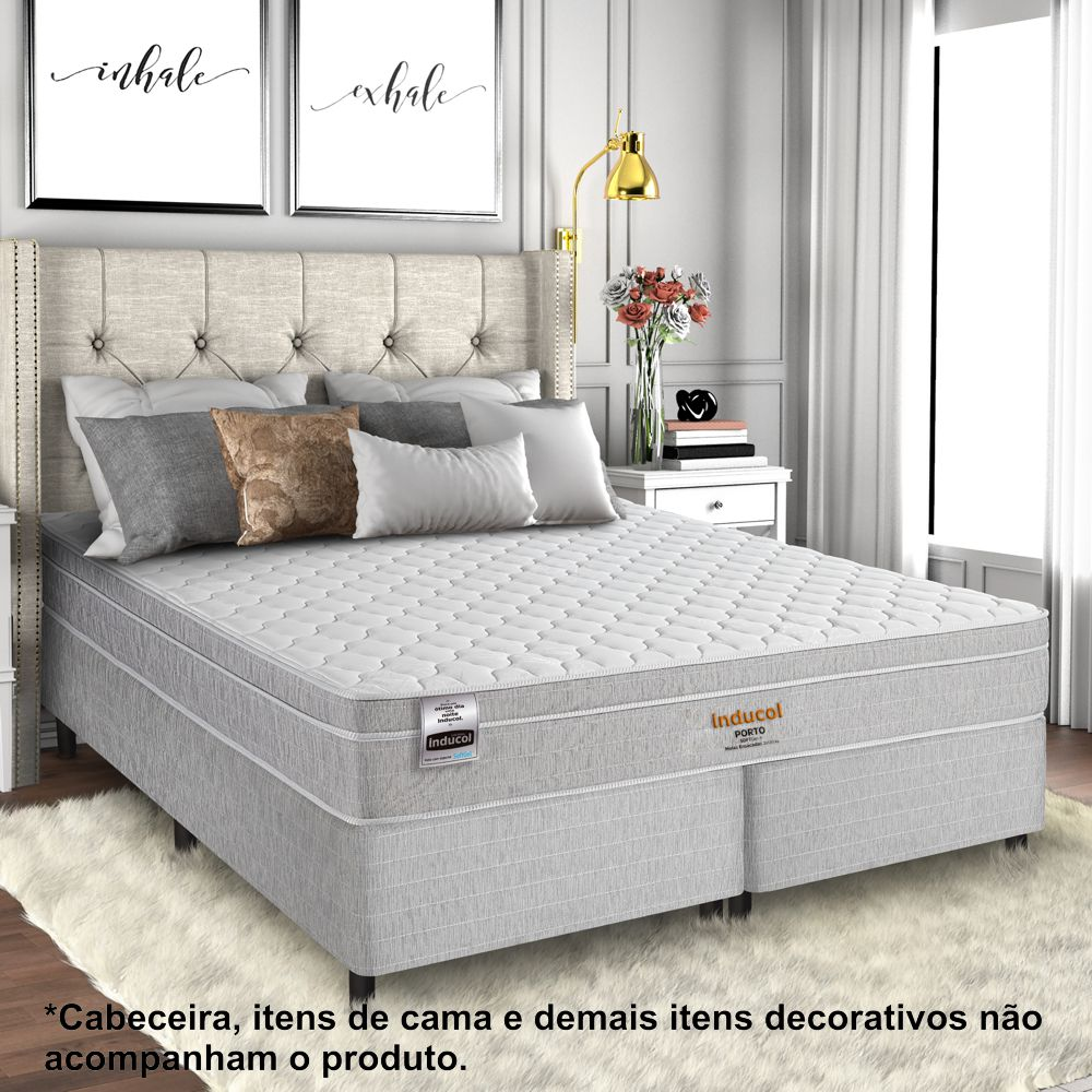 Cama Box King Size com Colchão Porto SoftGel 193 x 203cm Inducol