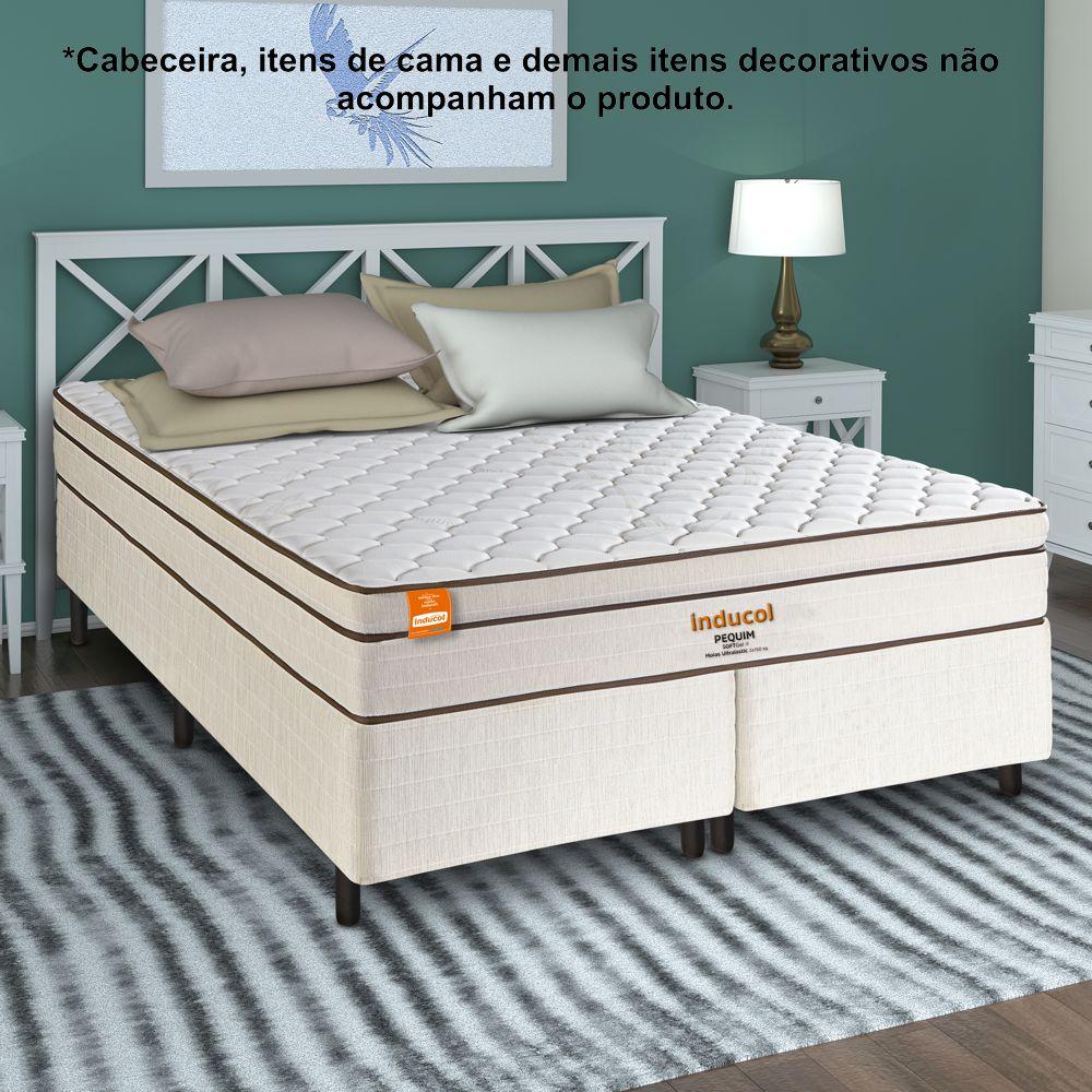 Cama Box Queen Size com Colchão Pequim SoftGel 158 x 198cm Inducol