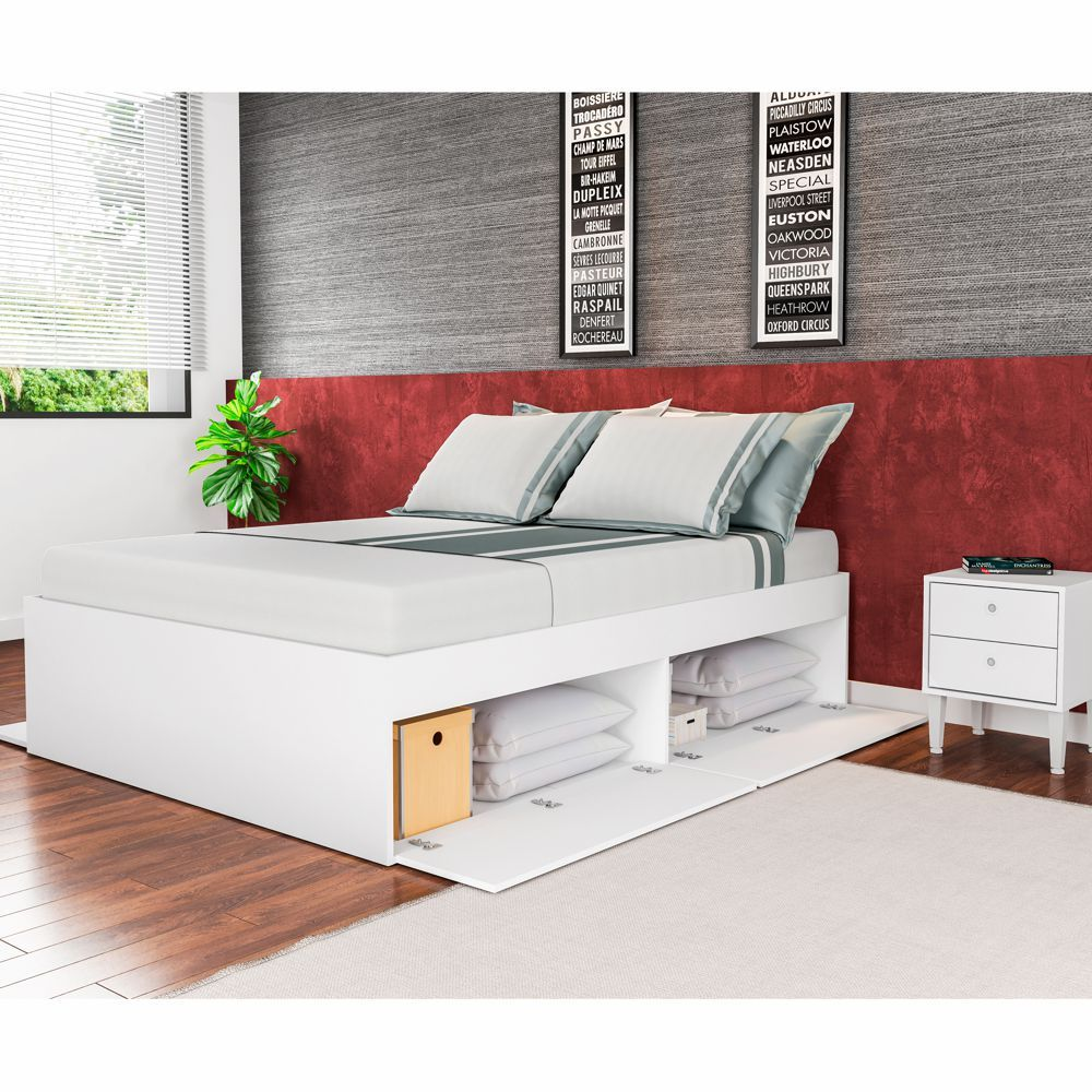 Cama de Casal com Baú para colchão 1,38m Tokio CM1400 Art in Móveis
