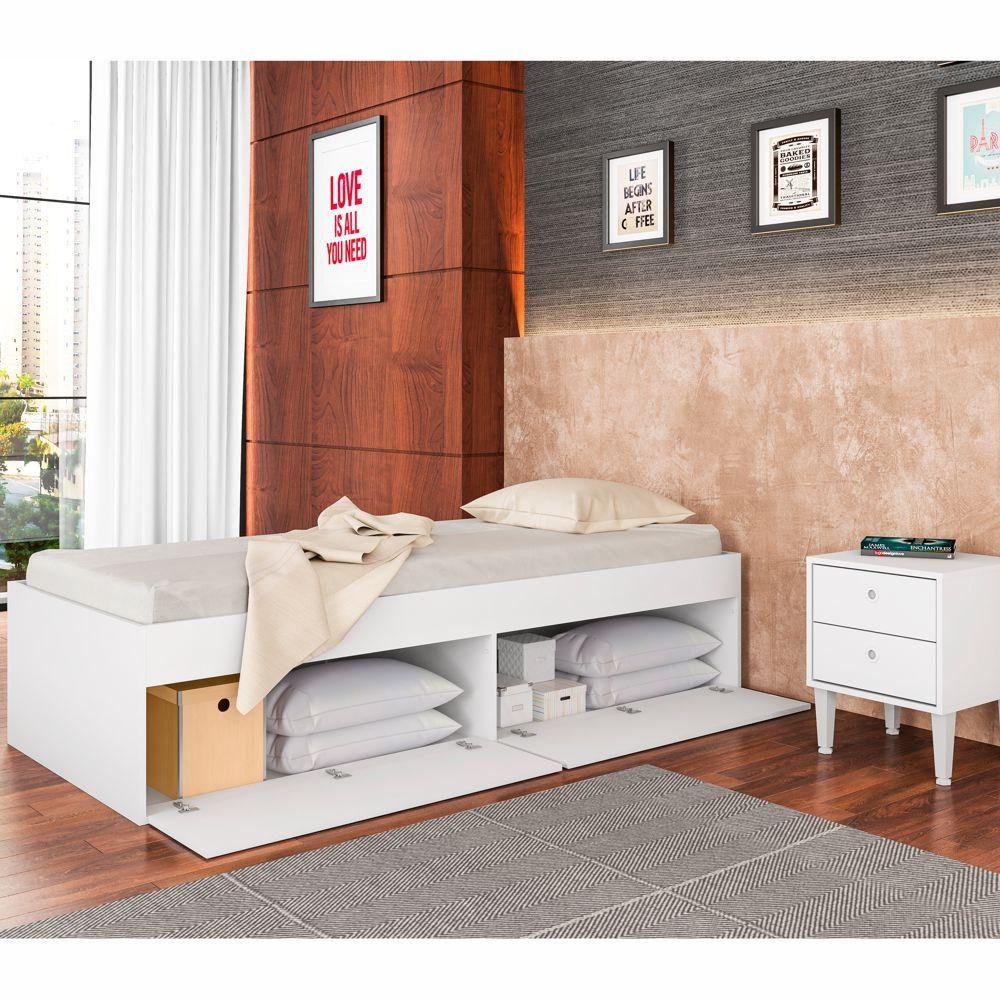 Cama de Solteiro para colchão 78cm com Baú Tokio CM800 Art in Móveis