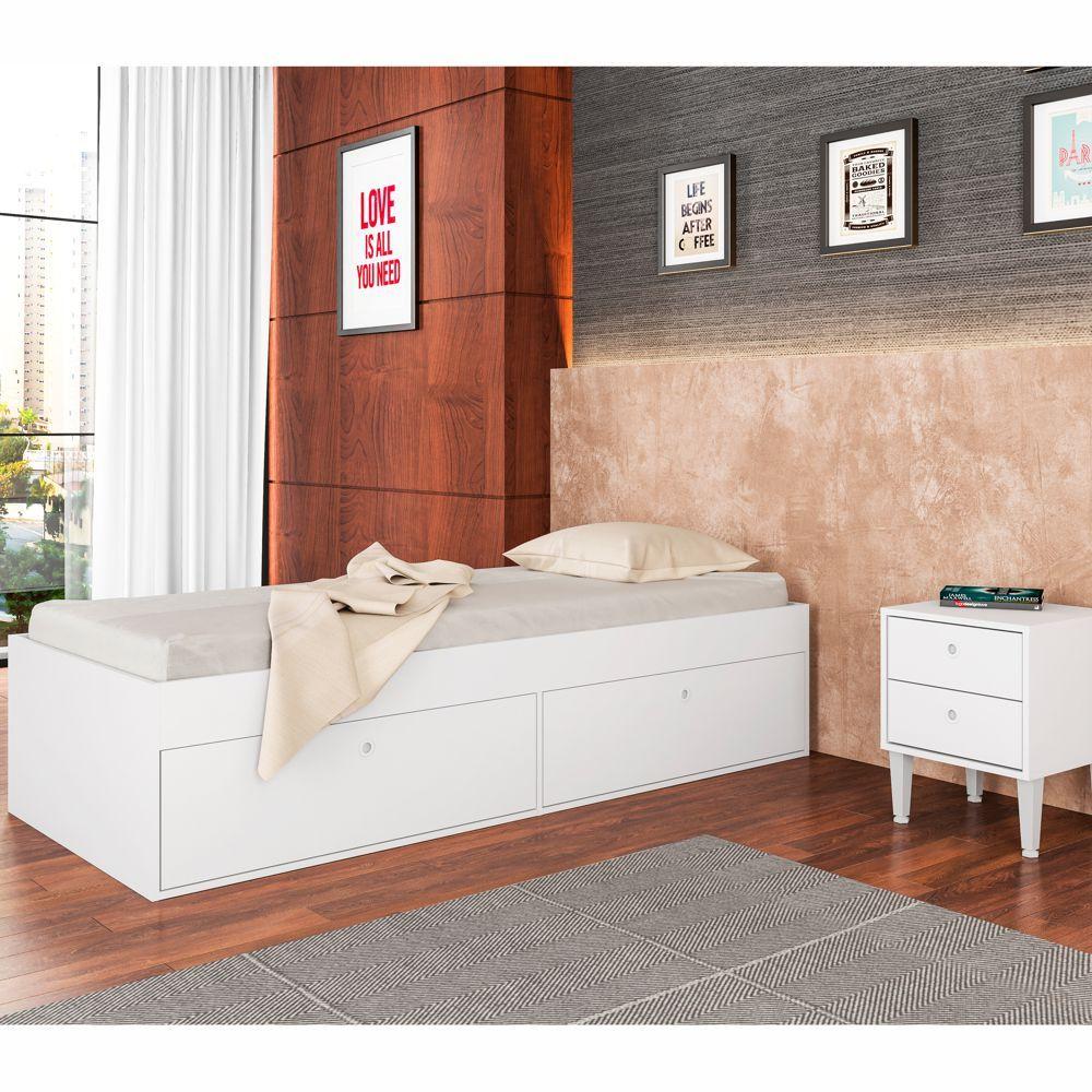 Cama de Solteiro com Baú e Criado Mudo CJ013 Art in Móveis