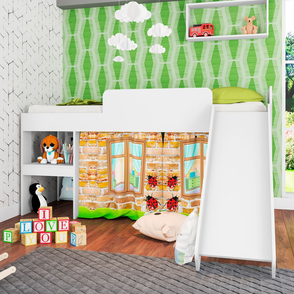 Cama Infantil com Escorregador e Cortina Playground para colchão de 78cm CM3080 Meu Fofinho