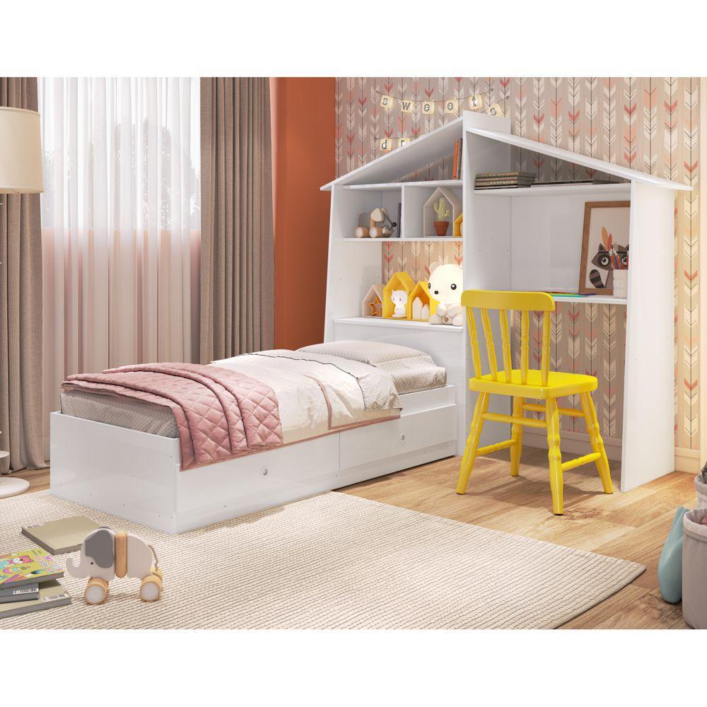 Cama Infantil com Estante Escrivaninha e Baú em formato de casinha CJ037 Meu Fofinho