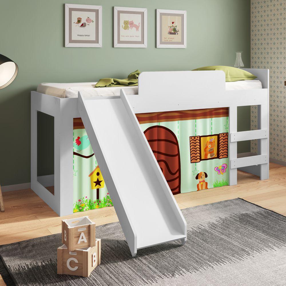 Cama Infantil Solteiro com Escorregador, escada e cortina Diversão CM090 Meu Fofinho