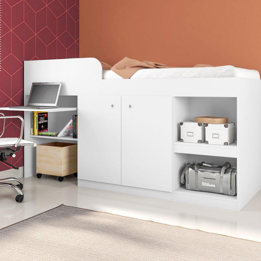 Cama Multifuncional para colchão 78cm com Guarda Roupas e Escrivaninha Juvenille CM1080 Art in Móveis
