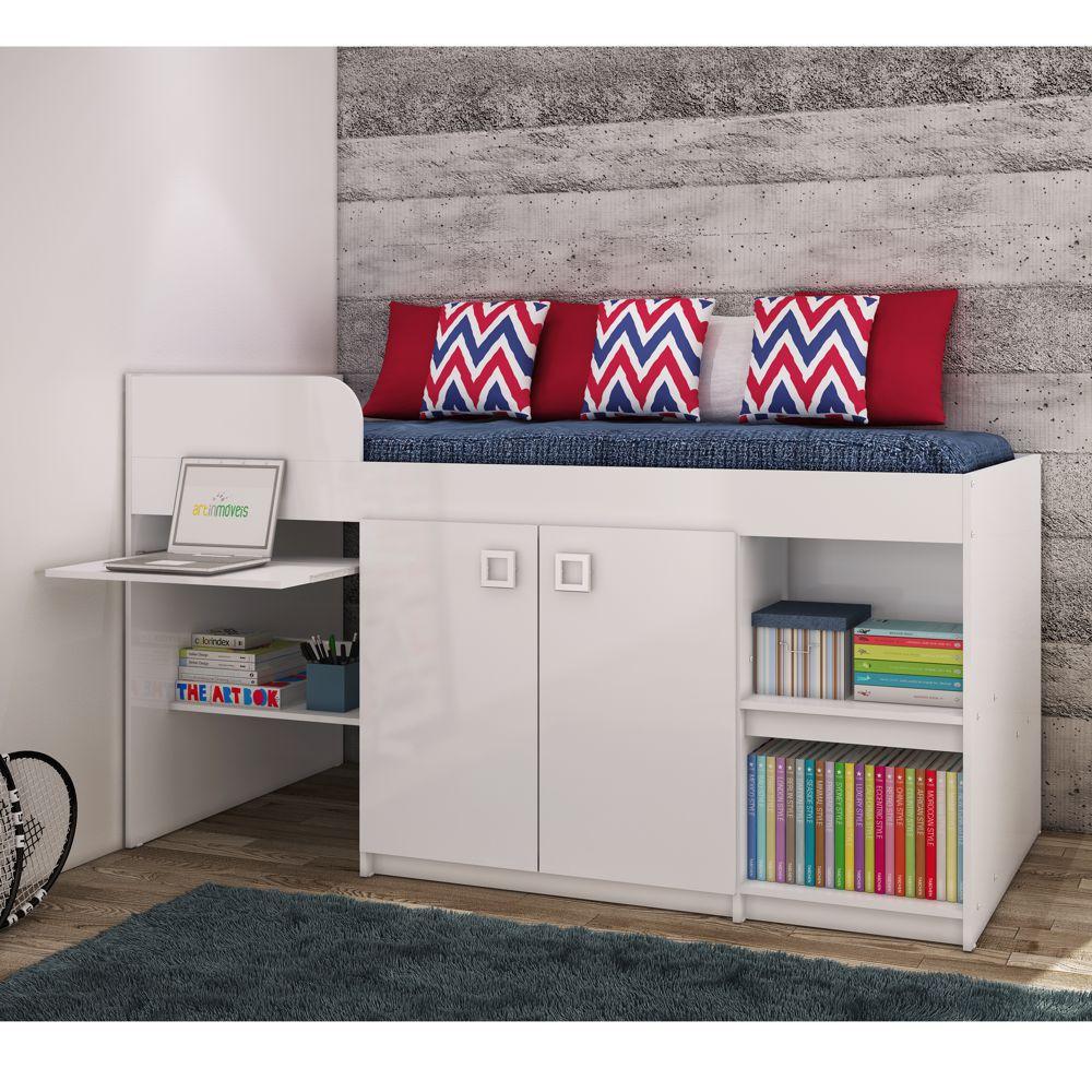 Cama Multifuncional para colchão 88cm com Guarda Roupas e Escrivaninha Juvenille CM1090 Art in Móveis