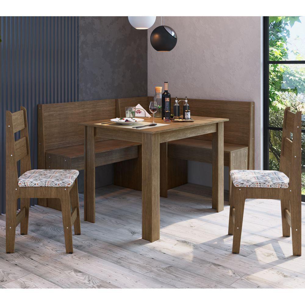 Canto Alemão Completo com banco de canto, mesa e 2 cadeiras MDF 518.003 Canção