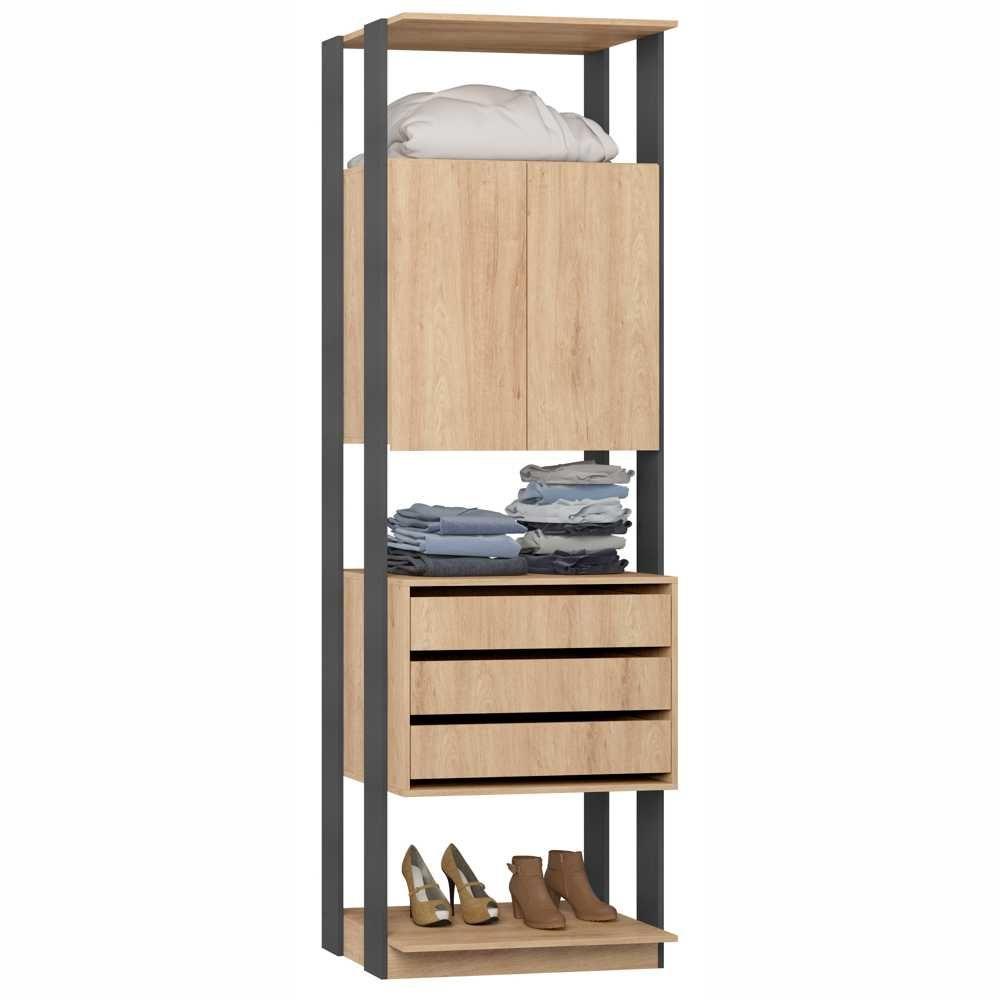 Closet Componível 2 Portas 3 Gavetas 70cm 1006 Clothes BE Mobiliário