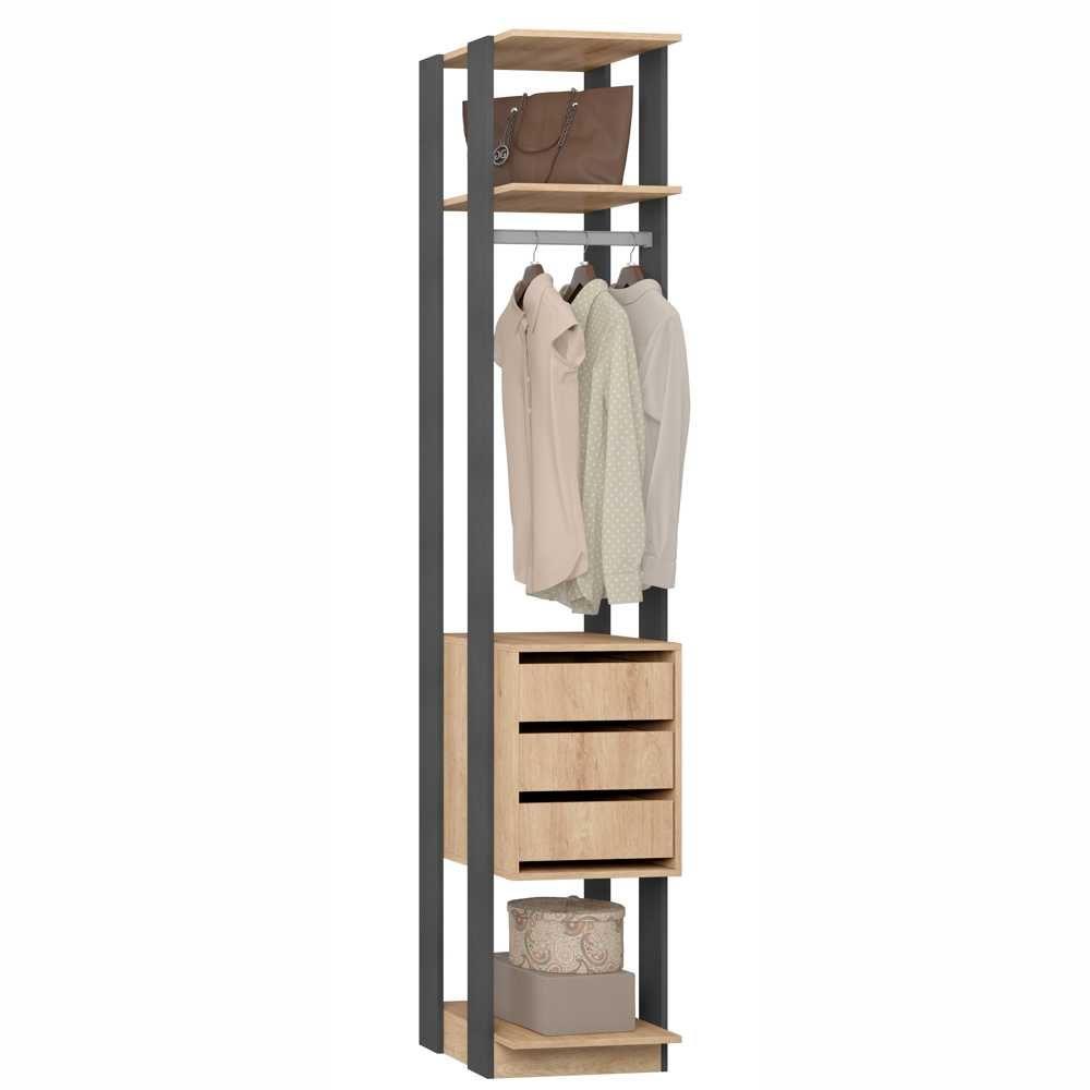Closet Componível 3 Gavetas Cabideiro 41cm 1003 Clothes BE Móveis