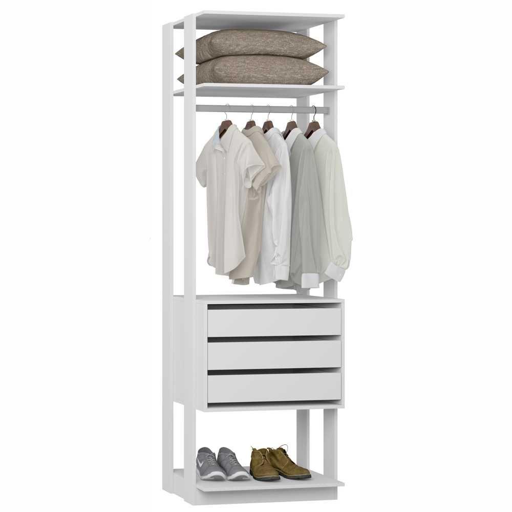 Closet Componível 3 Gavetas Cabideiro 70cm 1004 Clothes BE Mobiliário